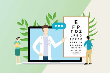 ophthalmologist consultationt with doctor and patient with type board on laptop screen - vector illustration
