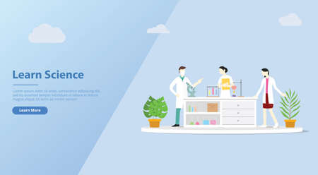 team of laboratory learn science for website banner template discuss chemistry - vector illustration 일러스트