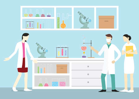 laboratory team chemist on the lab with some tools and discuss about something - vector illustration