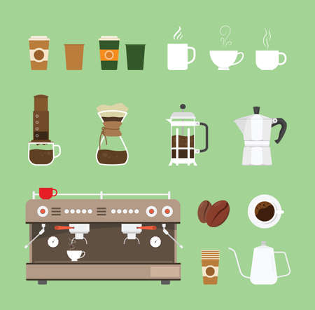 coffee machine tools equipment set collection with flat design style - vector