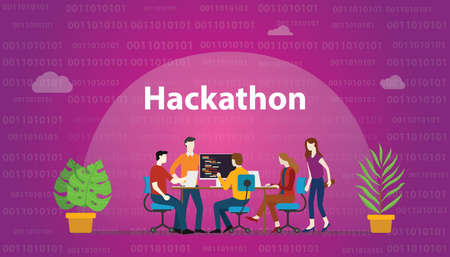 hackathon technology concept with team working together on programming - vector