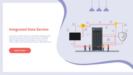 integrated data service concept with people for website design template banner server and secure icon database - vector Illustration