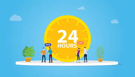 24 hours support service concept with clock and people team - vector