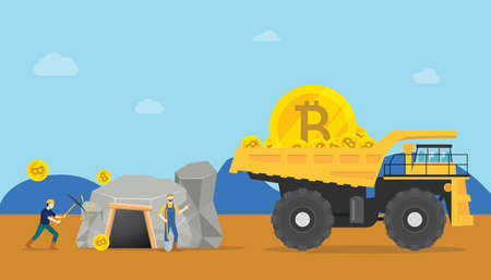 bitcoin mining concept with miner mine a golden cryptocurrency money - vector