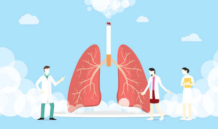 lungs smoke cigarette concept with smoke and team medic people - vector