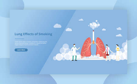 lungs smoke cigarette concept for website template page design - vector