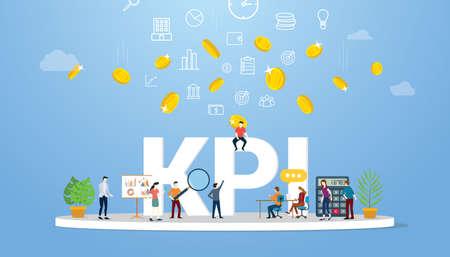 kpi key performance indicator concept business with team people work together - vector illustration 向量圖像