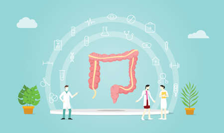 human colon healthcare with doctor people talking care with medical icon - vector illustration Illustration