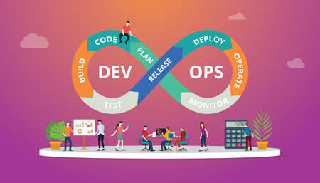 Programmatori al lavoro concetto utilizzando le pratiche di sviluppo software devops - illustrazione vettoriale