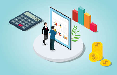 isometric financial check analysis with people and data chart with money - vector illustration