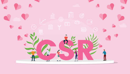 csr corporate social responsibility concept big text with people team work working with modern pink color - vector illustration