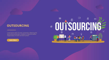 outsourcing business concept big text with people for website template banner design with modern purple color - vector illustration Illustration