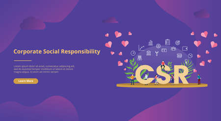 csr corporate social responsibility concept big text with people for website template banner design with modern purple color - vector illustration Illustration