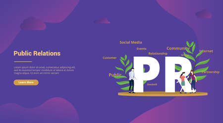pr public relations concept with big text and people team for website template landing homepage - vector illustration Stock Illustratie