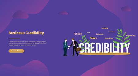 credibility business personal concept with big text for website template landing homepage - vector illustration Illustration