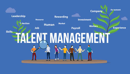 talent management concept with big text and team people with green leaf - vector illustration Illustration