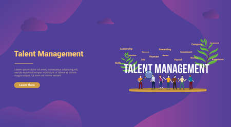 talent management concept with big text and team people for website template landing homepage - vector illustration