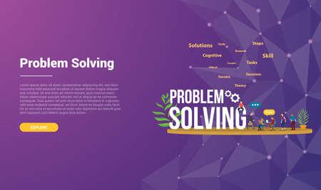 problem solving concept for website template landing homepage banner with modern purple violet background - vector illustration Vektorové ilustrace