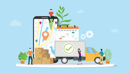 online delivery goods ecommerce concept with team people truck and mobile apps smartphone - vector illustration Illustration