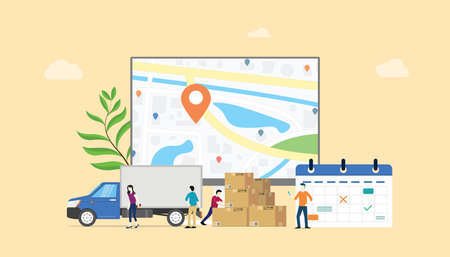 Online-Liefersystem-Kalenderservice mit Teamleuten und GPS-Track-Standort - Vektorillustration Vektorgrafik