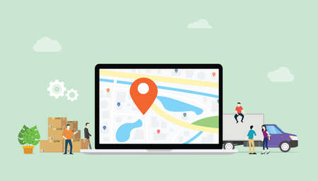 online delivery service with laptop and gps pin location with goods stack and truck deliver - vector illustration