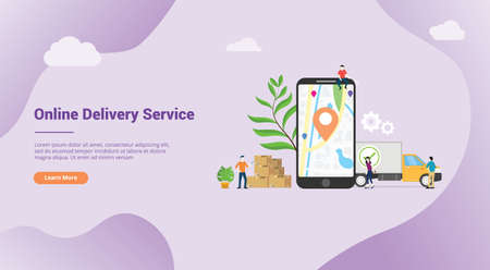 online delivery service concept with apps mobile gps location for website template landing banner or homepage web - vector illustration Ilustração