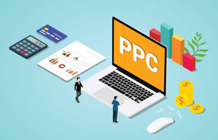 isometric 3d ppc paid per clik advertising or advertisement concept with laptop and clicked mouse sign - vector illustration Illustration