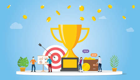 business goal achivement company concept with big golden trophy and team people with money and graph chart - vector illustration 向量圖像