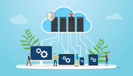 cloud computing concept with database server and various media platform laptop smartphone tablet and computer - vector illustration Vecteurs