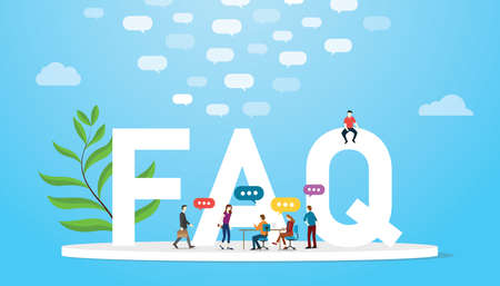 faq frequently asked question concept with team people and big words text with bubble speech conversation with blue modern color style - vector illustration Иллюстрация