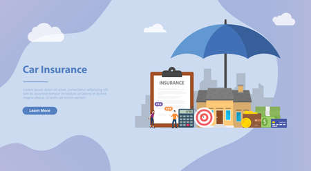 house insurance concept with home and paper contract document for website template banner or landing homepage - vector illustration Çizim