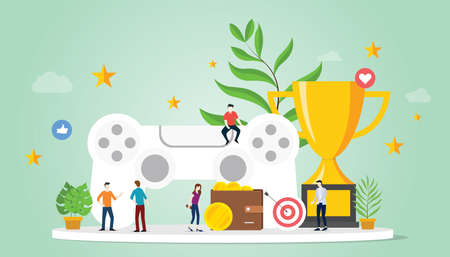 gamification life concept with goals reward and star with team people and big trophy with modern flat style - vector illustration