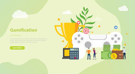gamification life concept for website template banner or landing homepage with modern flat style - vector illustration  イラスト・ベクター素材