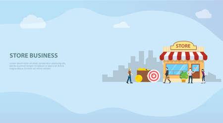 open offline store or shop business building concept for website template or banner landing homepage - vector illustration