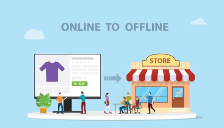 o2o online to offline e-commerce new concept technology with store and website online modern style illustration - vector illustration