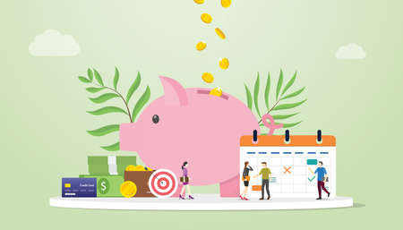 koncepcja planowania miesięcznego budżetu z zapisywaniem ikony świnki i kalendarza z ludźmi z zespołu i nowoczesnym płaskim stylem - ilustracja wektorowa
