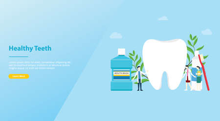 teeth or tooth care healthy with team doctor and big teeth and tooth brush for website template or landing homepage - vector illustration