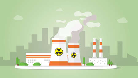 nuclear power plant technology resources alternative with big reactor building on the city area - vector illustration