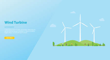 wind turbine concept on the city for energy power with modern flat style for website or web landing homepage design - vector illustration
