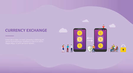 currency exchange money concept with mobile smartphone apps with options business technology for website template or landing homepage - vector illustration 向量圖像