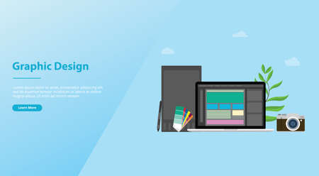 graphic design and designer concept with team people and some tools like pen tablet pantone for website template or landing homepage - vector illustration