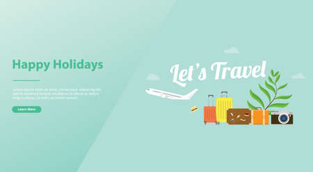 lets travel or holiday poster concept with plane and luggage bag and big text for website template or landing homepage design - vector illustration 向量圖像