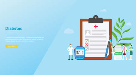diabetes concept medical health report concept for website template or landing homepage - vector illustration