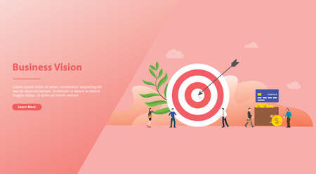 business or people target with big dart and some people walking around for website template or landing homepage with modern flat style - vector illustration 向量圖像