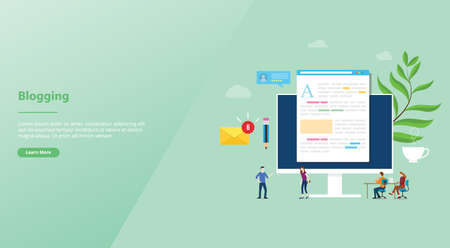 blogging or blog creative concept with laptop computer and content development with team people for website template landing homepage with modern flat style - vector illustration