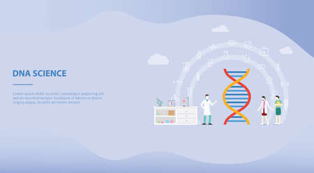 genetic engineering on the laboratory with team people doctor and scientist for website template or landing homepage with modern flat style - vector illustration