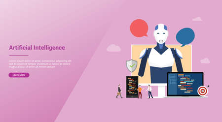 artificial intelligence ai concept with robot and technology development construction for website template landing homepage with modern flat style - vector illustration 向量圖像