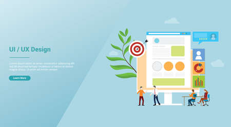 ui ux user interface and user experience design concept development with team people for website template landing homepage with modern flat style - vector illustration