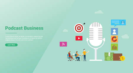 podcast business concept with icon illustration and team people and money for finance with modern flat style for website template or landing homepage - vector illustration 版權商用圖片 - 128052500