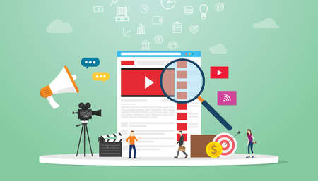 online video search concept technology with magnifying glass and business team searching on browser with modern flat style - vector illustration